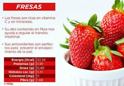La fresa es alta en vitamina c y minerales, recomendada también con blanqueador natural de los dientes.