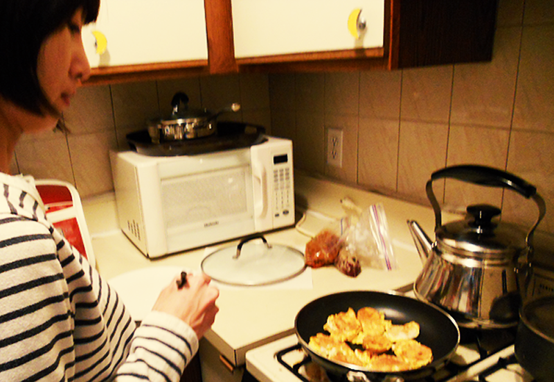 Cooking Korean food with my friend, Julie.