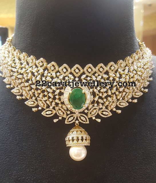 Diamond Choker with Jhumka Locket