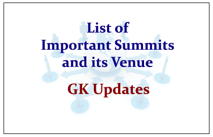 List of International Summits - Conference and It's Venues imp for JKSSB EXAMINATION
