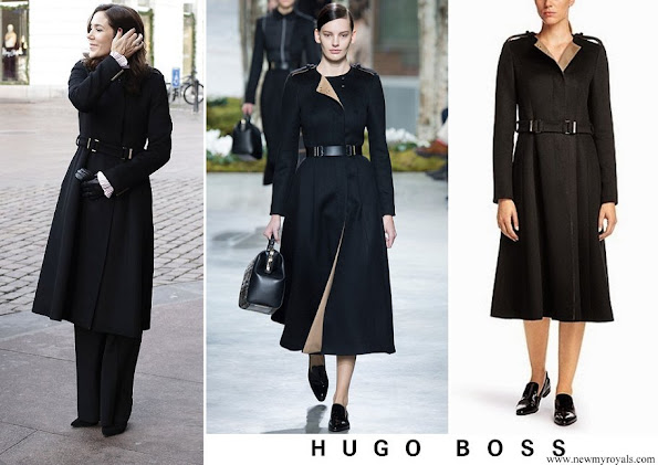 Crown Princess Mary wore Hugo Boss wool blend coat from Fall/Winter 2014 Collection