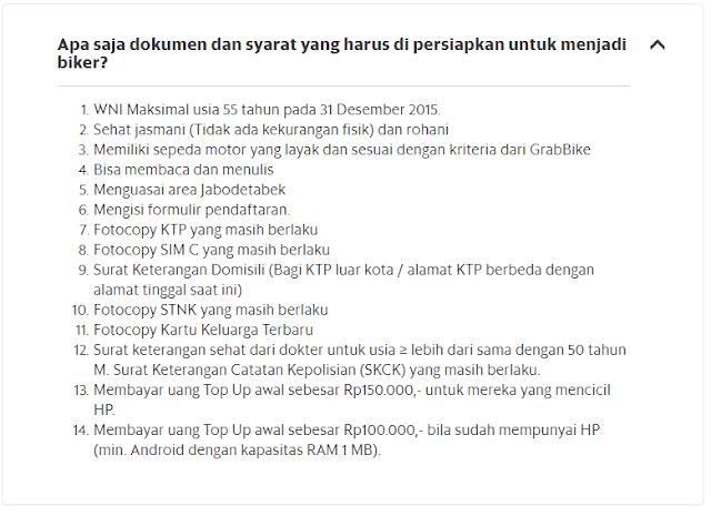 Syarat pendaftaran grabbike online