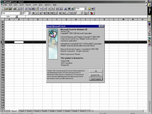 Microsoft Excel 95 (v7.0)