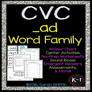 https://www.teacherspayteachers.com/Product/CVC-ad-Word-Family-Packet-570934