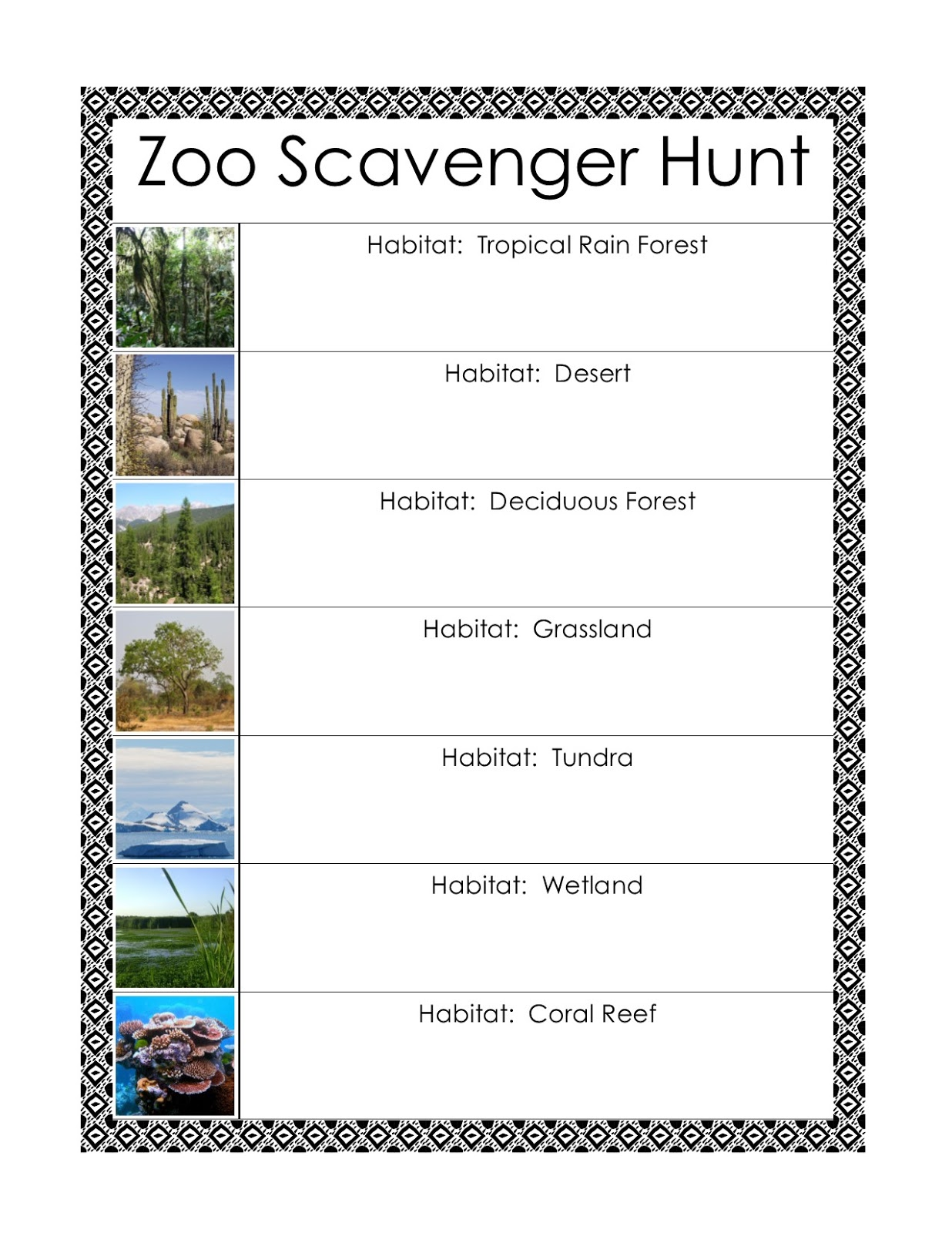The Best Zoo Scavenger Hunt Printable