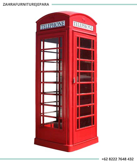 LEMARI TELEPHONE LONDON MERAH DUCO VINTAGE