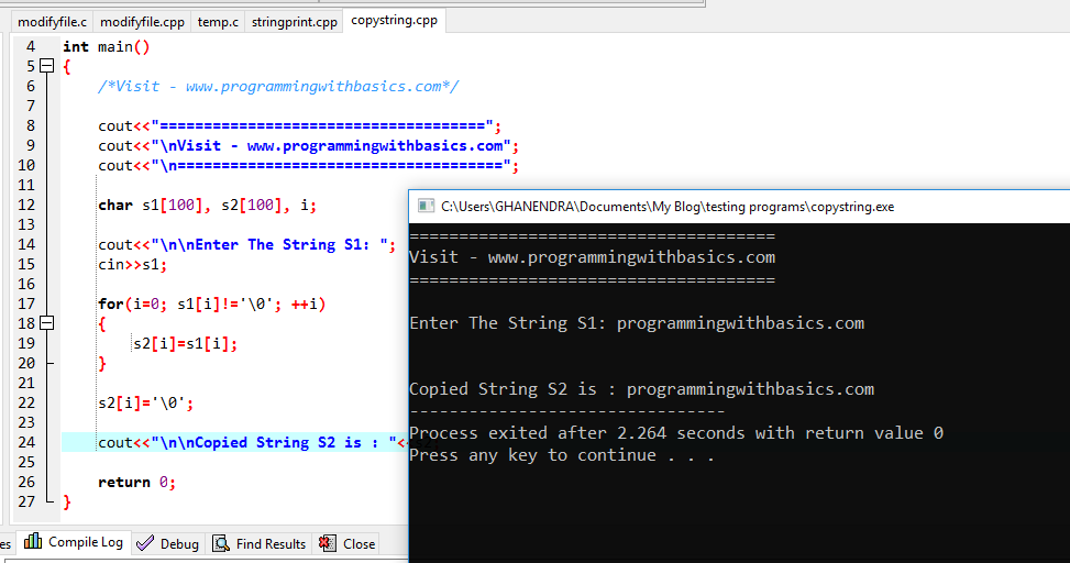 C++ Program to Copy One String into Another String Without Using strcpy()