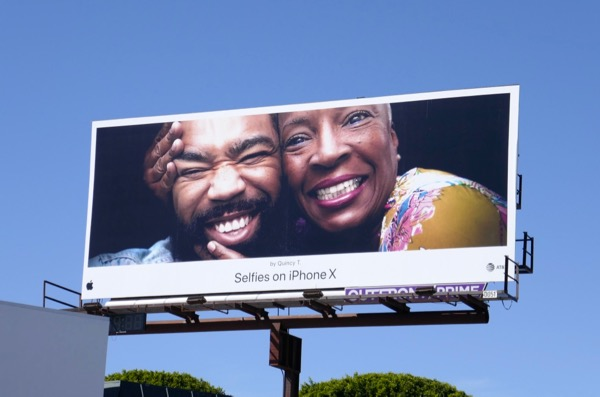 Selfies on iPhone X Quincy T billboard
