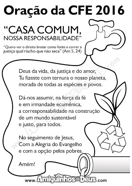 desenho oração da campanha da fraternidade 2016 para colorir