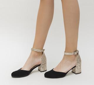 sandale cu toc mic gros de zi negre cu auriu