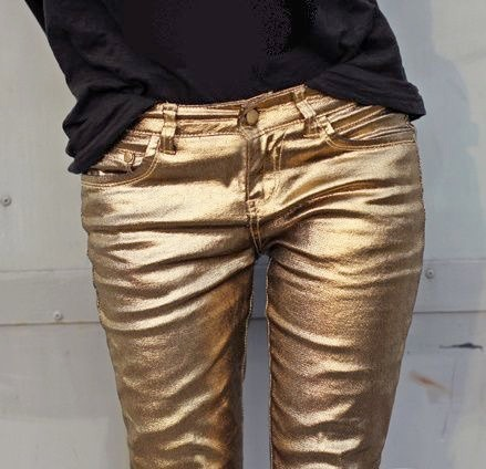 Gold metallic jeans