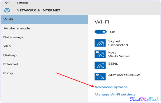 Windows 10 settings Network and internet