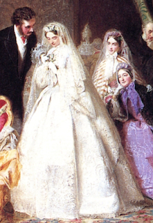 "Detail of bride and groom from G.E. Hicks's ""Changing Homes"" (1862)"
