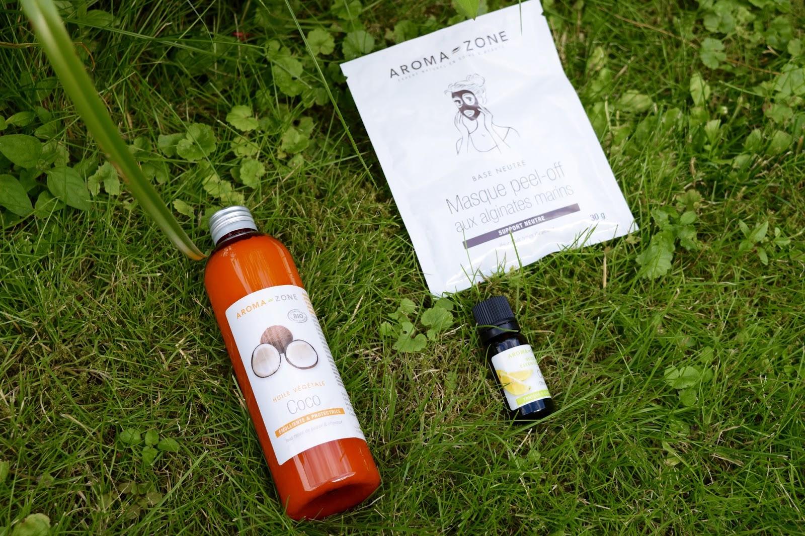 huile de coco, huile essenciel de citron et masque d'algue