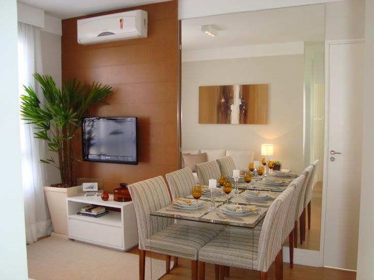 Duas pequenas salas integradas estar e jantar jeito Living modernos pequenos