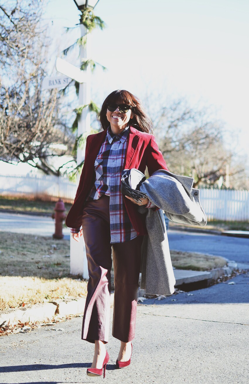 All burgundy street style