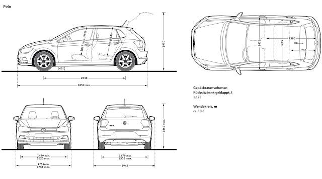 Novo VW Polo 2018 - dimensões