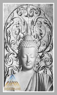 sketsa relief gambar Budha untuk batu paras putih, batu jogja