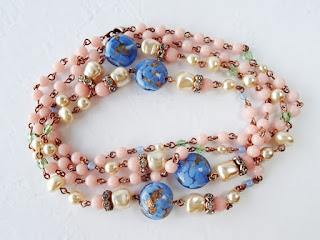vintage style jewelry, romantic jewellery collection in pink and blue