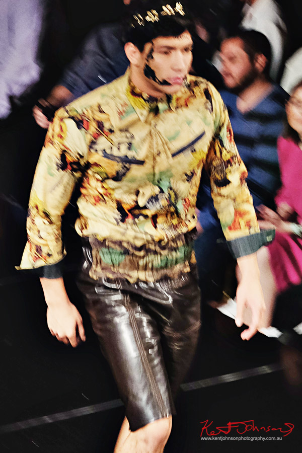 Menswear, Cap, print shirt, leather shorts. Dexter Simmons at Art Hearts Fashion NYFW 2017 photographed by Kent Johnson.