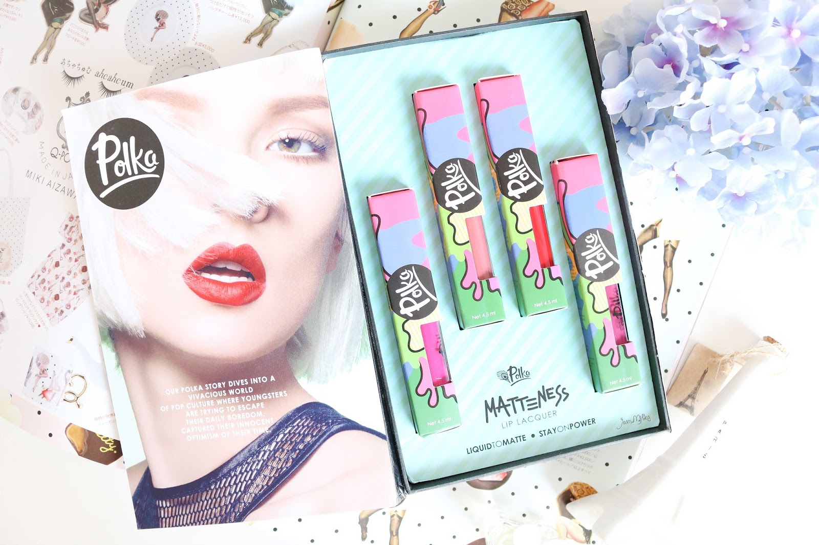 polka, polka beauty, lip lacquer, polka cosmetics, polka matteness, polka lip lacquer, matte lipstick, matte, lip, review, swatch, drugstore, produk indonesia