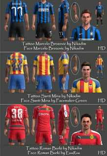 Faces + Tattoo Pack V3 Pes 2013 By Nikadim