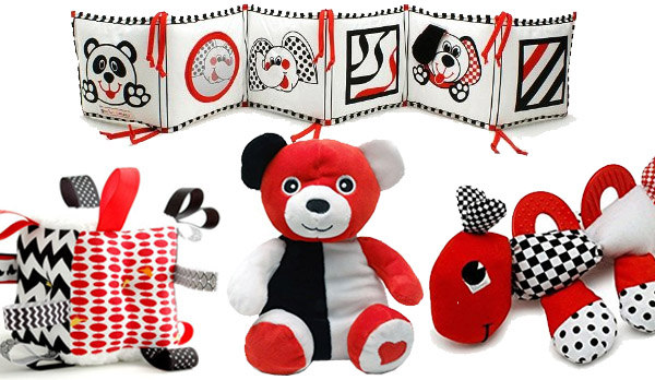 red black and white toys - infant development - developmental toys