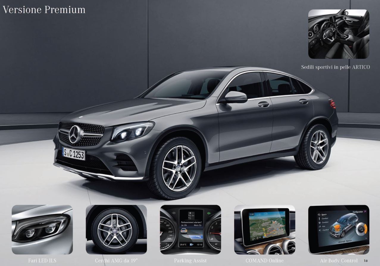 mercedes glc coupè allestimento premium optional