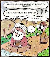 Nasrettin Hoca göle maya çalarken gölün oruç tutabileceğini söyleyen komik bir çocuk gösteren bir mizahi karikatür