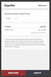 Cara Top Up Cash PB Zepetto Pakai Pulsa Telkomsel