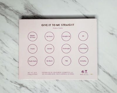 Review: ColourPop Give It To Me Straight Palette