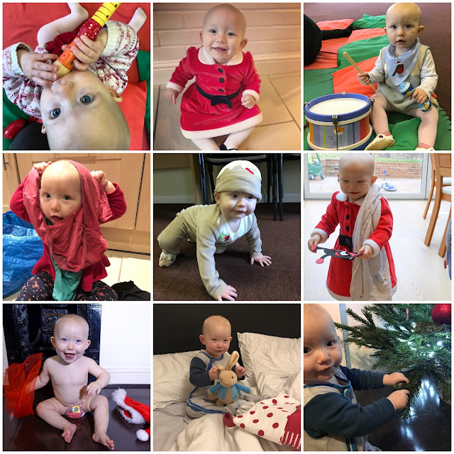 9 pictures of a baby including Christmas outfits