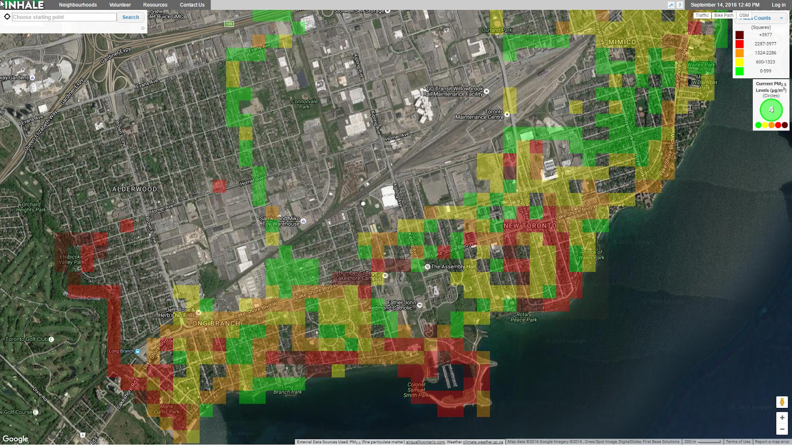 Toronto's air pollution monitoring map