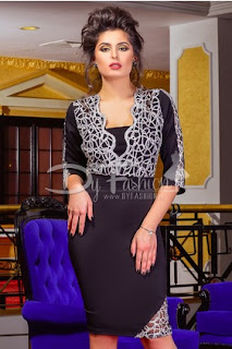 Rochie neagra midi de ocazie speciale cu model elegant de culoare argintie