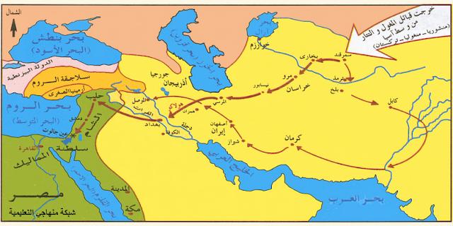 خط سير الهجمة المغولية حتى عين جالوت.