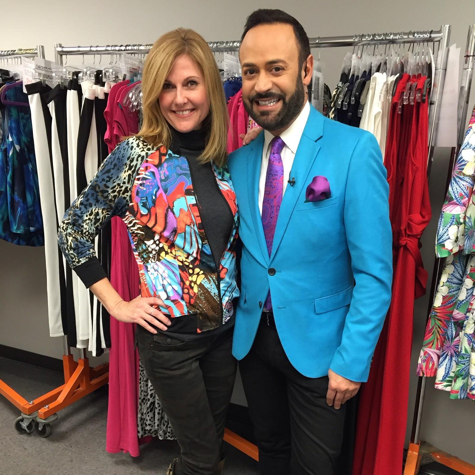 5b4129dd45b0c Nick Verreos with Janet Scibetta in NV Nick Verreos EVINE Live Stretch Knit  Printed Bomber Jacket--EVINE Live TV Shopping Network Studios