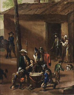 Cerquozzi's Soldiers Playing Dice is now in a private collection