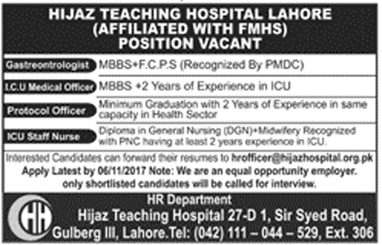 Jobs In Hijaz Teaching Hospital Lahore Oct 2017