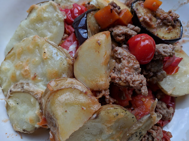 Lamb aubergine tomato potato bake