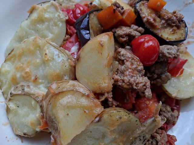 Lamb aubergine tomato potato bake
