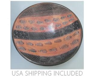 Kenyan Kisii Stone 16 Inch Bowl Ten Pound Carved African Soapstone