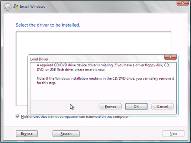 Mengatasi Error A required CD/DVD Device Driver is Missing Ketika Menginstall Windows - TutorialCaraKomputer.com