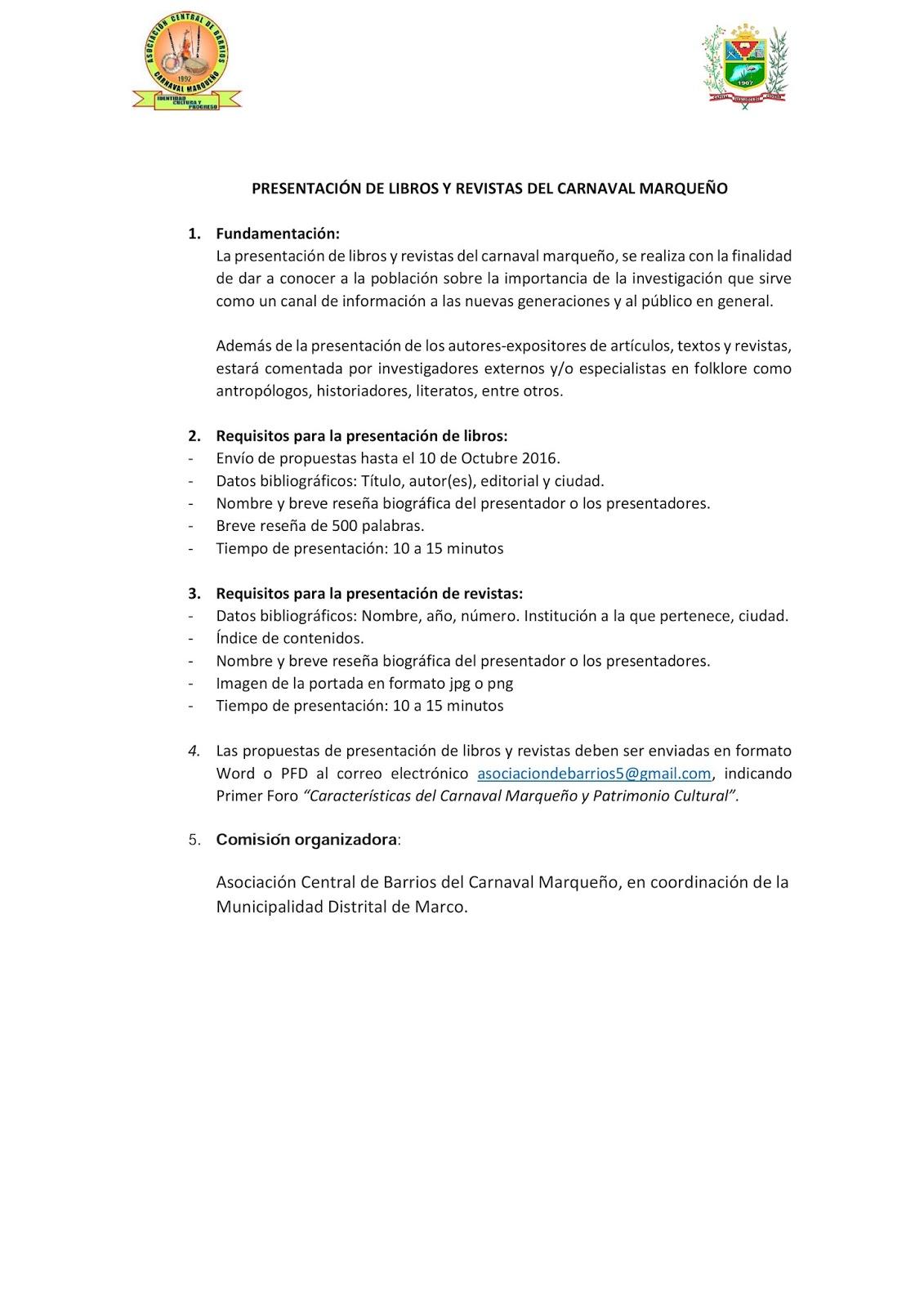 Carnaval Marqueño: PRESENTACIÓN DE LIBROS Y REVISTAS