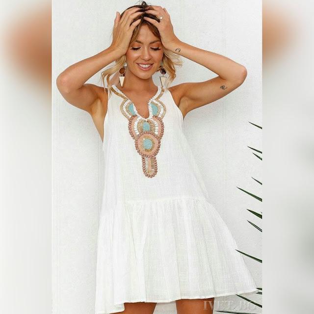 Μοντέρνο κοντό άσπρο φόρεμα LILLY