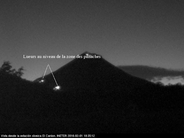 Lueurs sur le volcan Momotombo, 31 janvier 2016