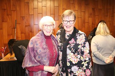 Jean Illsley Clarke and Karen Shirer at Karen's retirement party.