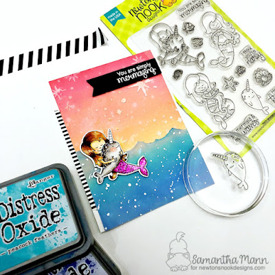 Mermaid Card by Samantha Mann - Narly Mermaids Stamp Set, Starfield Stencil, Newton's Nook Designs #newtonsnook #handmade #card #mermaid #distressoxideink