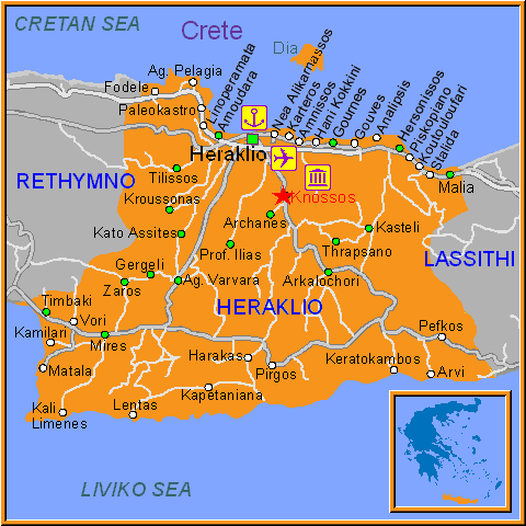 Carte Crete Kokkini Hani.Heraklion Guide Pratique La Grece Autrement
