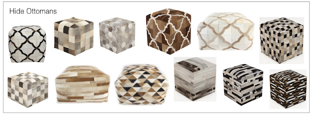 Designer source for discount cow hide ottomans and patchwork ottomans