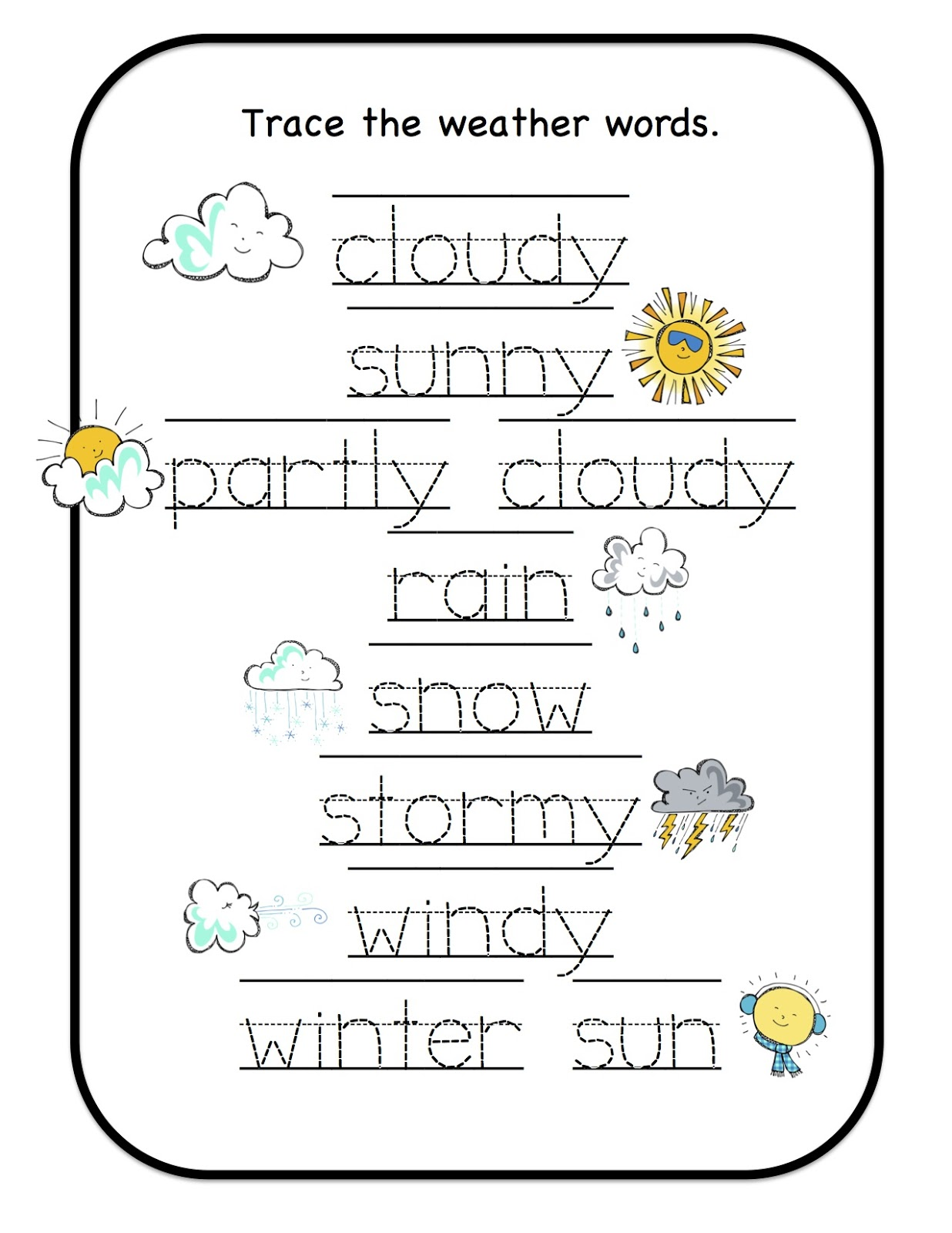 Weather Cards Preschool Printables